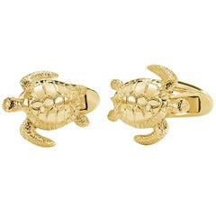 Turtle Cufflinks 18 Carat Yellow Gold