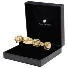 18 Karat Yellow Gold Elephant Hair Men's Bangle Bracelet