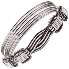 Elephant Hair Sterling Silver Bangle Bracelet Men