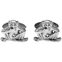 Fiddling Monkey Sterling Silver Cufflinks