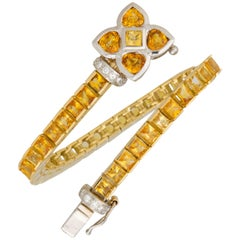 Ella Gafter Golden Yellow Sapphire Diamond Flexible Gold Flower Tennis Bracelet