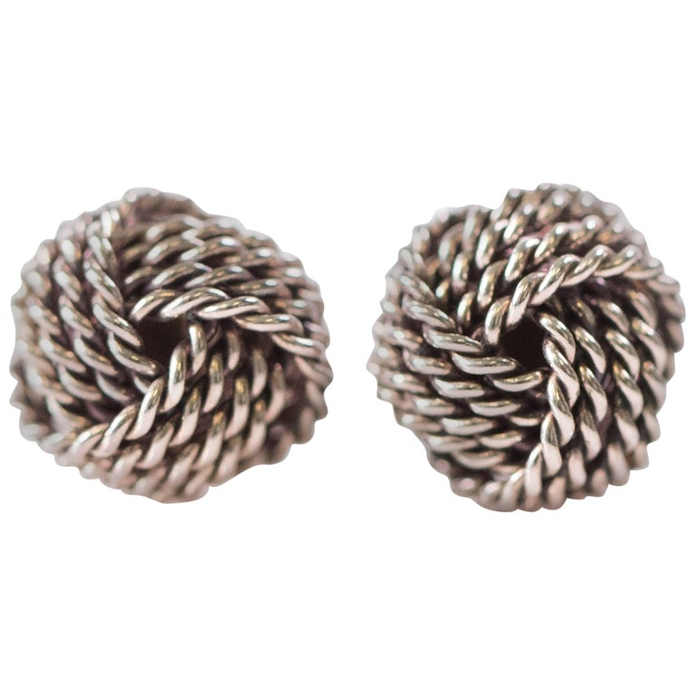 Tiffany & Co. Sterling Silver Twist Knot Earrings For Sale