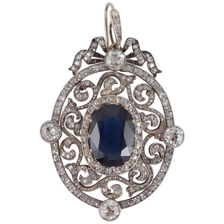 Faberge Moscow 1899 6.44 Carat Natural Unheated Burma Sapphire Diamond Pendant For Sale
