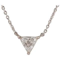 Trilliant Diamond Pendant 0.33 Carat G/H Color in Handmade 18 Carat White Gold