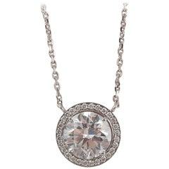2.70 Carat Round Old European Round Brilliant Cut Diamond Pendant