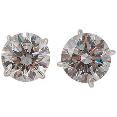 "Platinum 3.00 Carat Total Diamond Stud Earrings, Guaranteed ""Blood Free"""