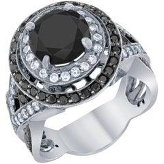 4.51 Carat Black Diamond Bridal Ring