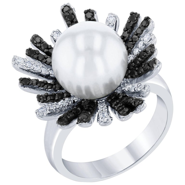 South Sea Pearl Black Diamond Cocktail Ring