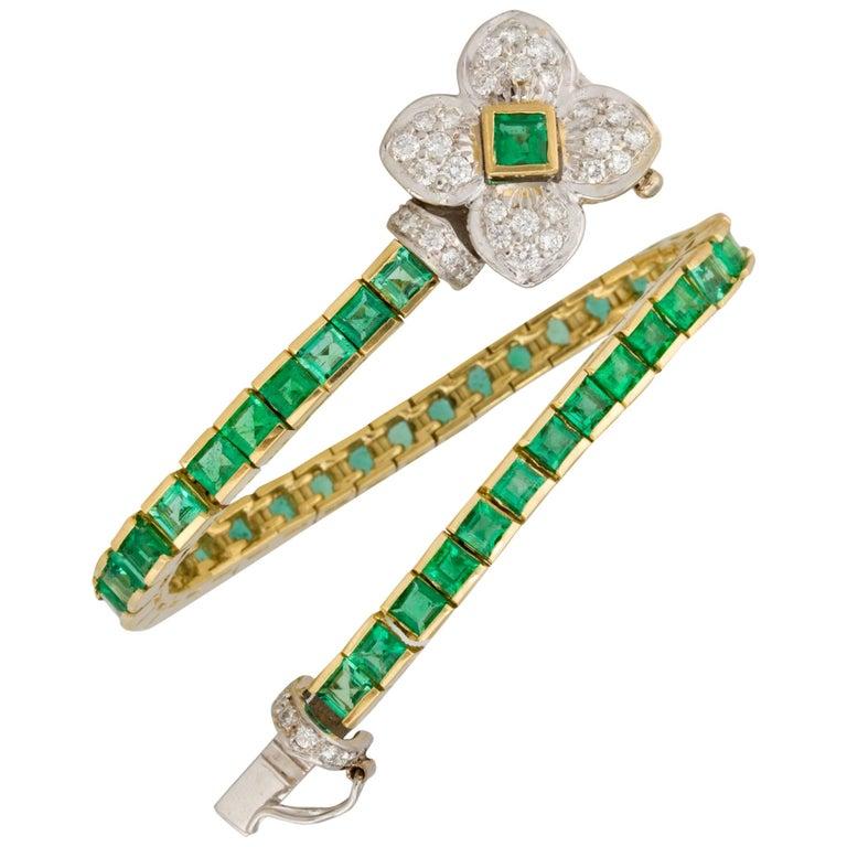 Ella Gafter Emerald and Diamond Flexible Gold Flower Tennis Color Line Bracelet