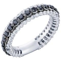 1.27 Carat Black and White Diamond Band