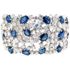 Sapphire Diamond Wide White Gold Bracelet