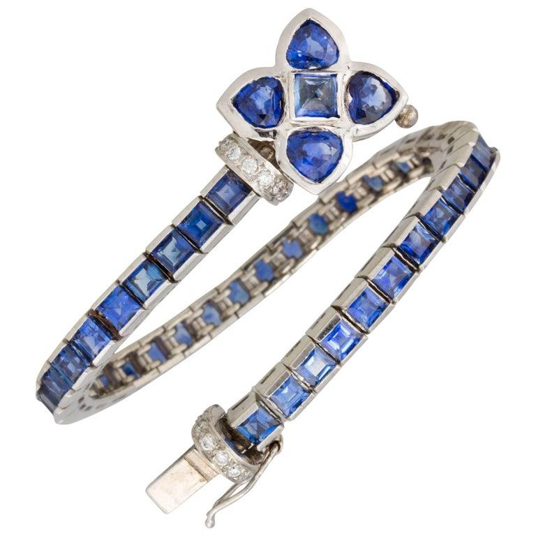 Ella Gafter Blue Sapphire Diamonds Flexible Flower Line Tennis Color Bracelet