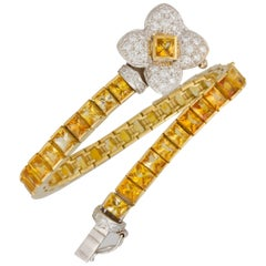 Ella Gafter Golden Yellow Sapphire Diamond Flexible Flower Color Line Bracelet