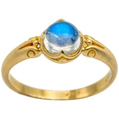 Round Moonstone Cabochon Ring with Ornate Detailed Bezel in 18 Karat Yellow Gold