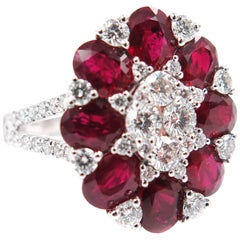 Ruby and Diamond White Gold Ring