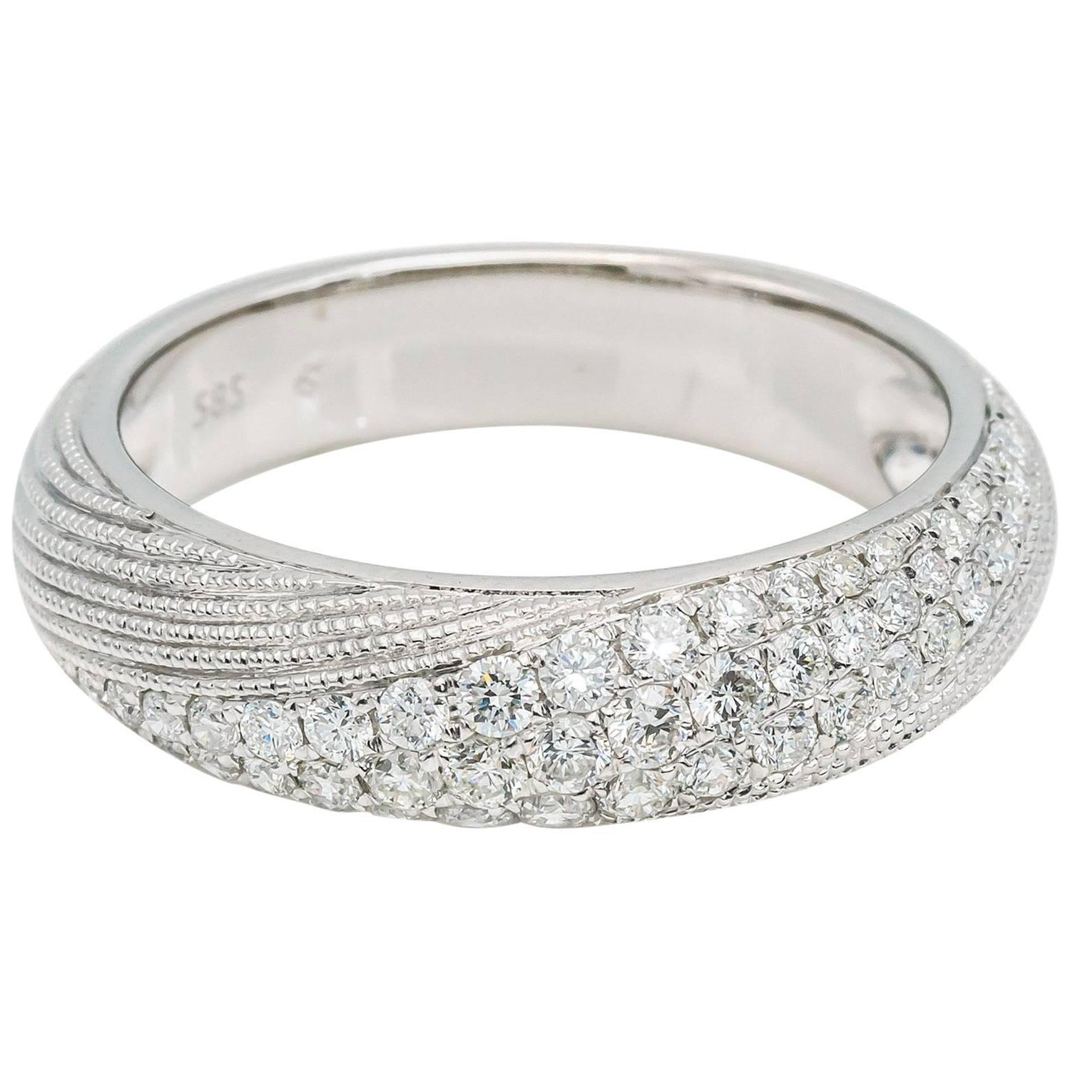 Pave Diamonds Wedding Band Ring White Gold Torsade Texture For Sale at  1stDibs
