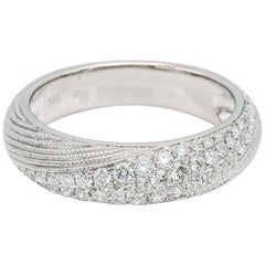 Spiral White Gold Pave Diamond Ring, Thick and Domed 0.59tw