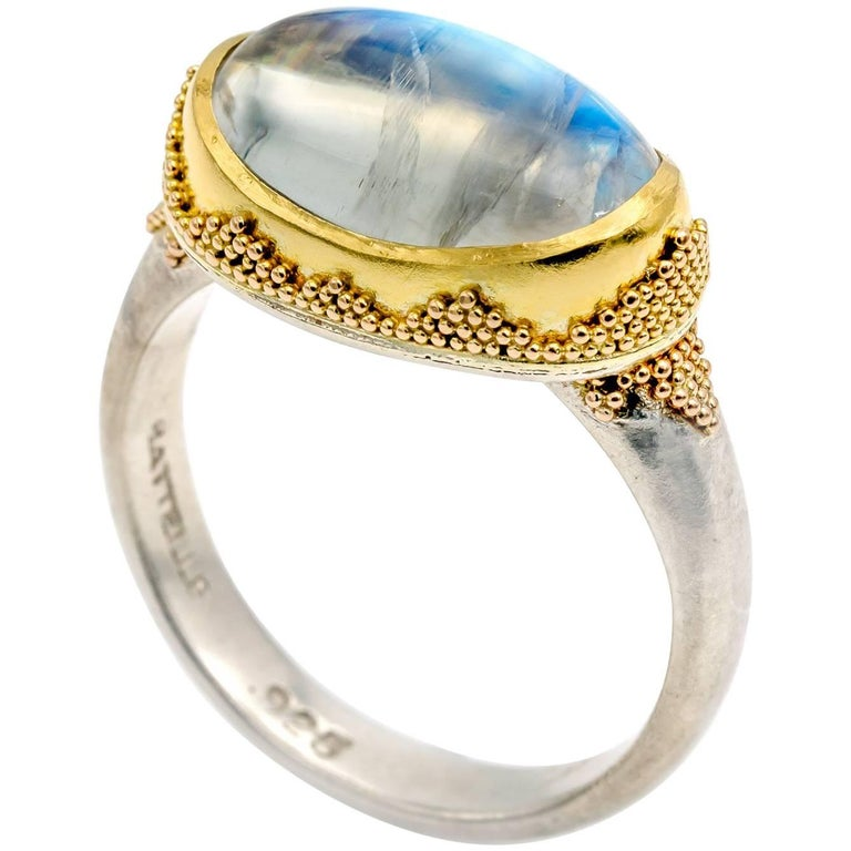 Oval Moonstone Ring with Gold Triangle Granulation Yellow and White Satin Gold For Sale