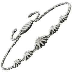 David Yurman Sterling Silver Pave Diamond Starburst Bracelet