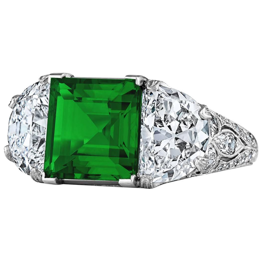 Art Deco Colombian Square Cut Emerald Diamond Platinum Three-Stone Ring