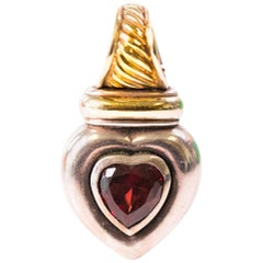 1990s David Yurman 18K Gold and Sterling Silver Garnet Heart Pendant