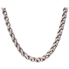 David Yurman Sterling Silver and 18 Karat Yellow Gold Wheat Chain