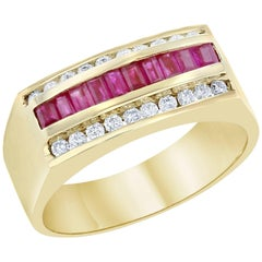 1.15 Carat Men's Ruby Diamond Ring