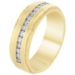 0.48 Carat Men's Diamond Yellow Gold Band