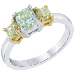 1.50 Carat Fancy Color Diamond Three-Stone Ring