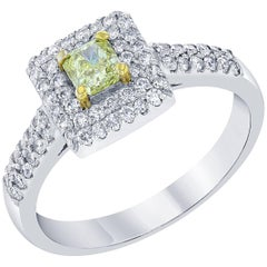 0.88 Carat Yellow Diamond Engagement White Gold Ring