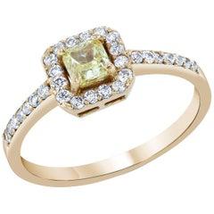 0.74 Carat Rose Gold Yellow Diamond Ring