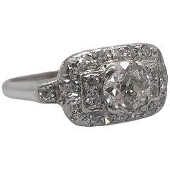 Art Deco  .80 Carat Diamond  Platinum Engagement Ring
