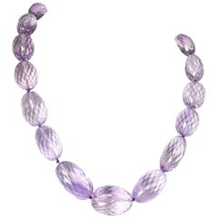 Decadent Jewels Exceptional Large Faceted Amethyst Gold Necklace