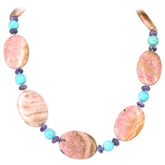 Rhodochrosite Turquoise Charoite Silver Necklace