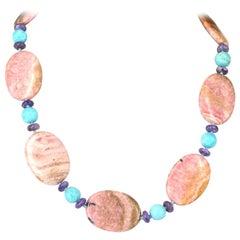 Rhodochrosite Turquoise Charoite Silver Necklace