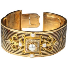 Napoleon III French Gold Enamel Pearl Diamond Articulated Bracelet