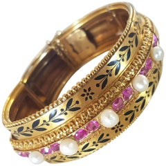Napoleon III French Gold Enamel Ruby Pearl Articulated Bracelet