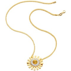 Sun Ray 18 Karat Gold, Diamonds and Yellow Sapphire Pendant on Chain