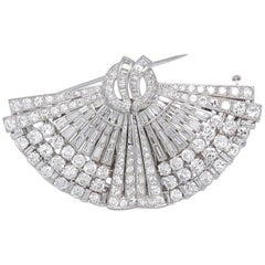 1930s Drayson Diamond Platinum Double Clip Brooch