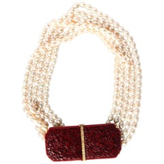 Pearls Necklace Diamond Lacquer Gold