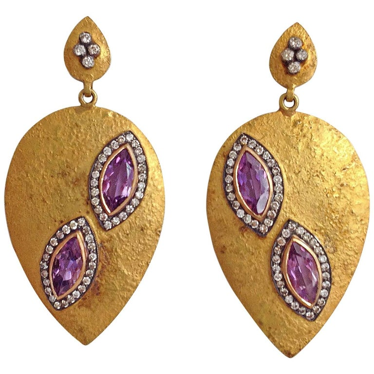 Dancing Apsara Diamond Yellow Gold Silver and Amethyst Earrings