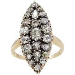 Retro Rose Gold Diamonds Ring