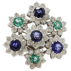 Retro 18 Karat White Gold, 2.53 Carat Diamonds, Emeralds and Blue Sapphires Ring
