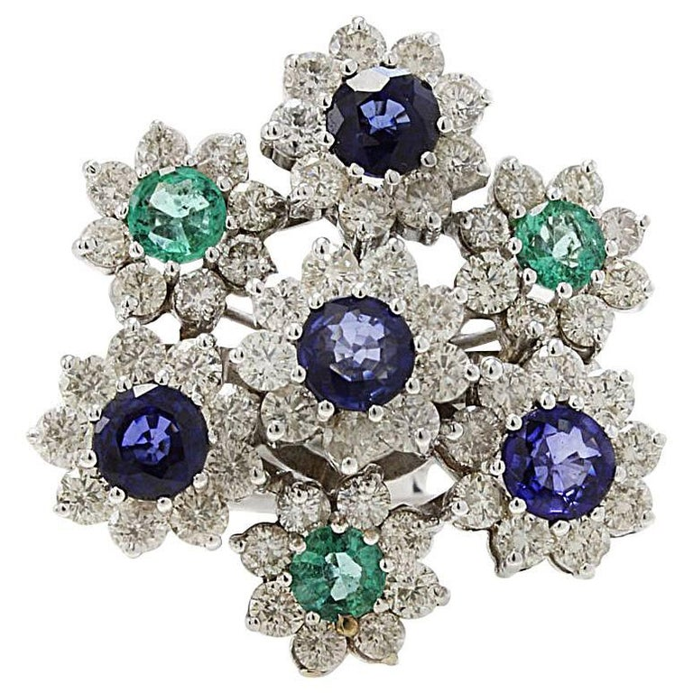 Retro White Gold Diamonds Emeralds and Blue Sapphires Ring