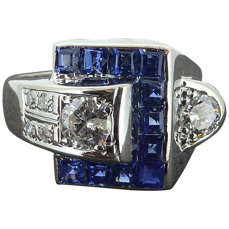 Vintage Sapphire and Diamond Ring, circa 1940s