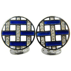 White Diamond Blue Hand Enameled Disk Shaped White Gold Setting Cufflinks