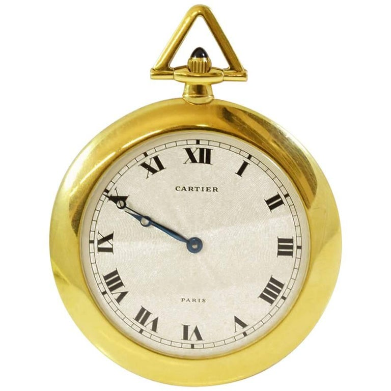 Cartier Yellow Gold Pocket Watch For Sale