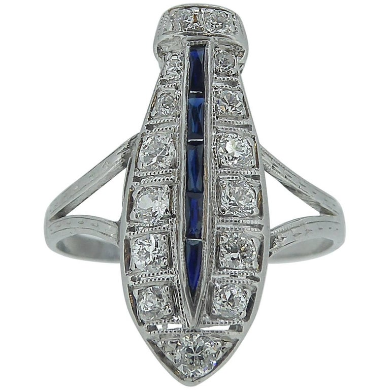 Vintage Diamond and Sapphire Cocktail Ring, 18 Carat White Gold