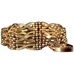 Antique Victorian Gold Gate Bracelet Fancy Link, circa 1900