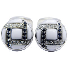 White Diamond Blue Sapphire Hand Inlaid Kogolong T-Bar Back White Gold Cufflinks